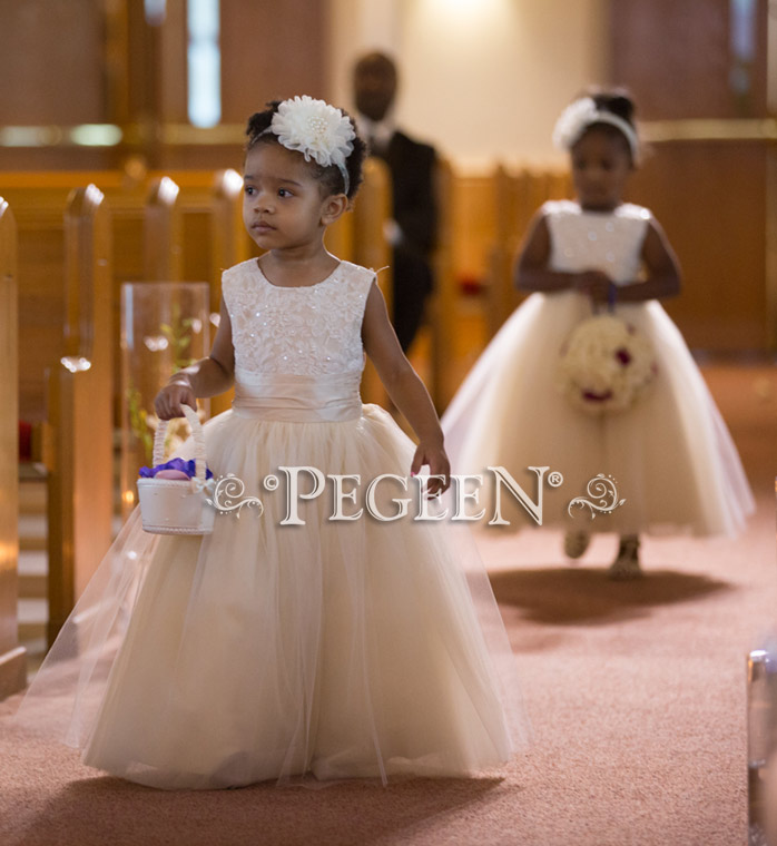 Ivory aloncon lace flower girl dresses