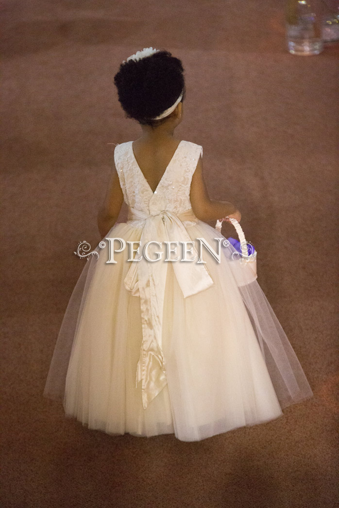 Lace Covered Tulle and Silk Couture Flower Girl Dresses - Style 402