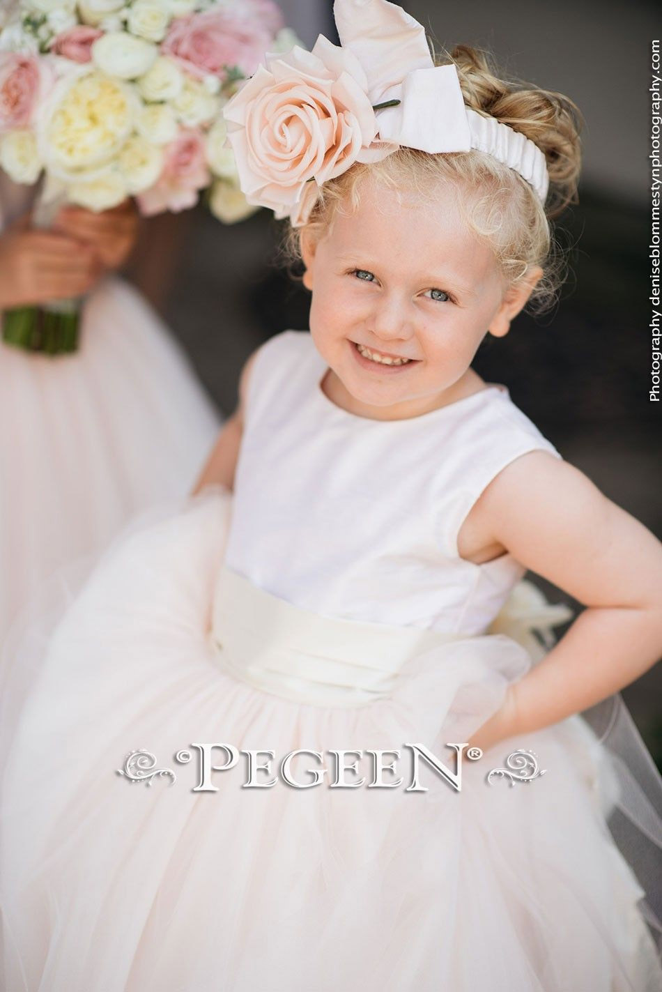Pink and Ivory silk flower girl dresses with tulle skirt and Signature Bustle