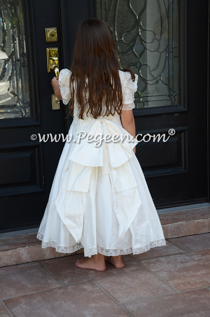 Ivory custom silk flower girl dresses