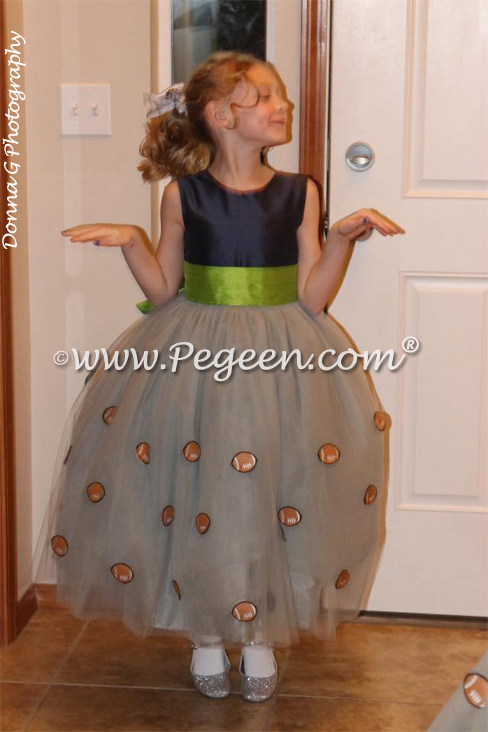 Football trimmed flower girl dresses for a Seattle Seahawk fan's Father Daughter dance