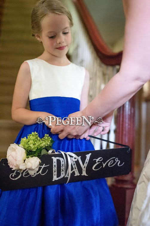 Flower Girl Dresses in Sapphire Blue with Customer's Fabric for Bodice Silk