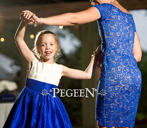 Flower Girl Dress of the Month - November 2017 Flower Girl Dresses in Sapphire Blue with Customer's Fabric for Bodice
