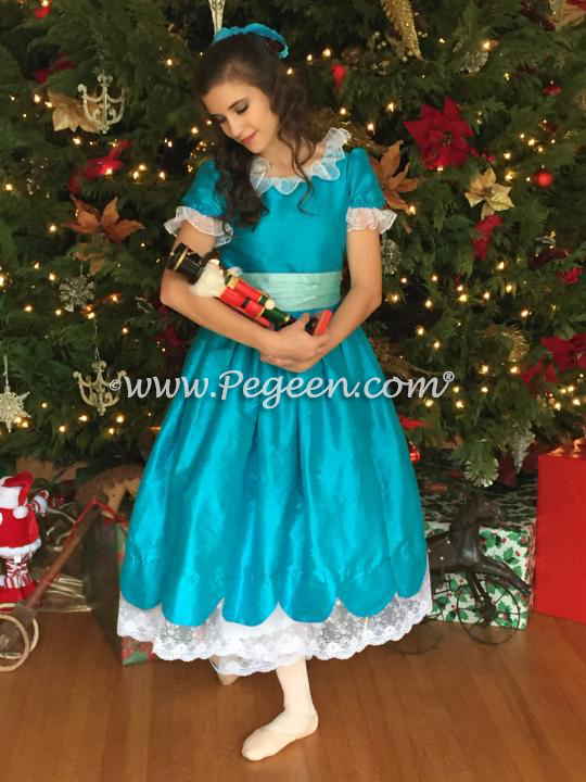 Mosaic (teal) and Pond (aqua) Silk Nutcracker Dress for Clara and the Party Scene Style 724