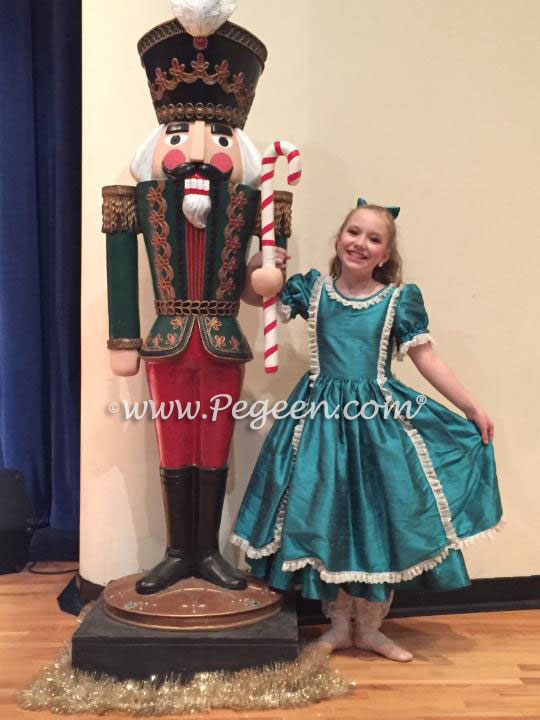 Blue Spruce Silk Victorian Style Clara Party Nutcracker Scene Dress