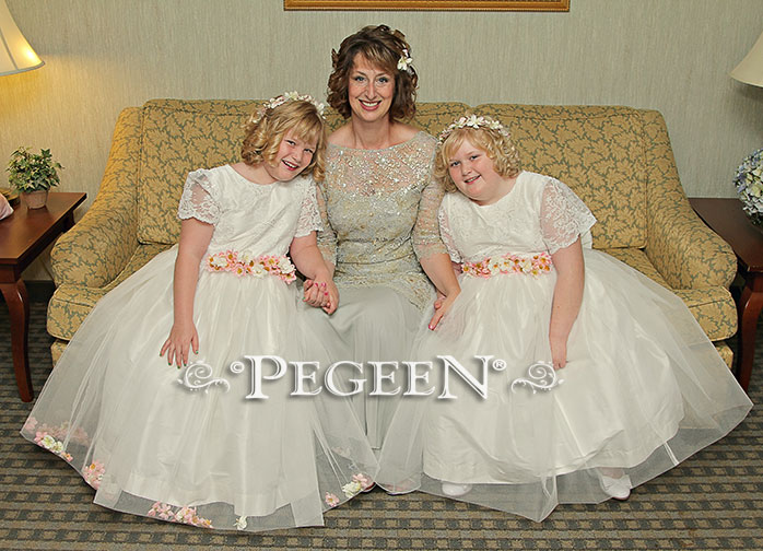 White Silk and Lace with Apple Blossoms Jr. Bridesmaids Dress