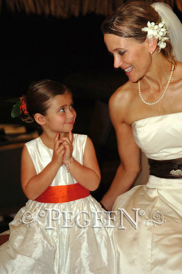Mango and New Ivory Silk Flower girl dress Style 403