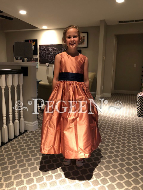 Salmon Flame (Orange) and Navy Blue silk flower girl dresses Style 398