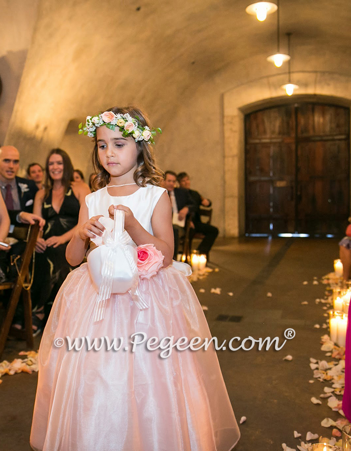 Blush Pink Flower girl dress Style 359 was used for a beautiful California Vineyard wedding