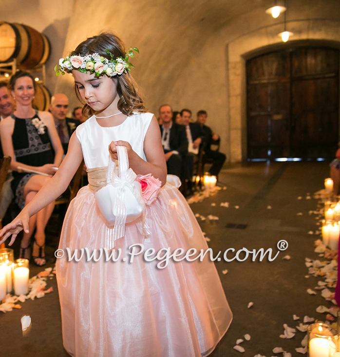 Pink, Ivory and Toffee Silk and Organza Flower Girl Dress