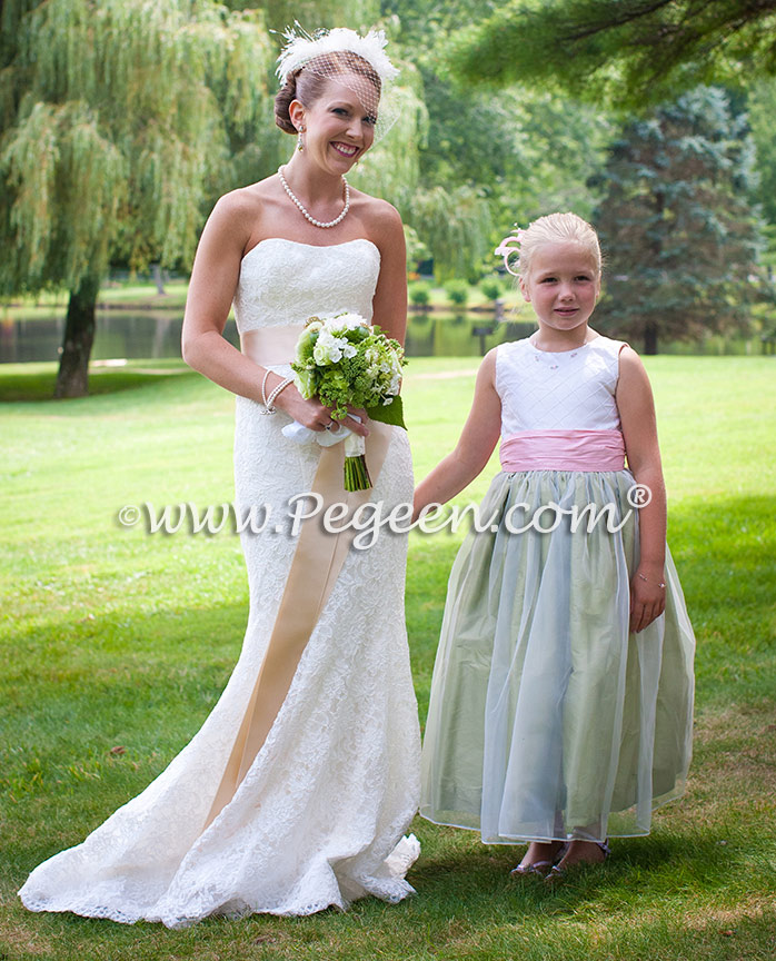Wedding of the Month - Flower Girl Dresses in Hibiscus and Sage Green Silk and Organza Flower Girl Dresses