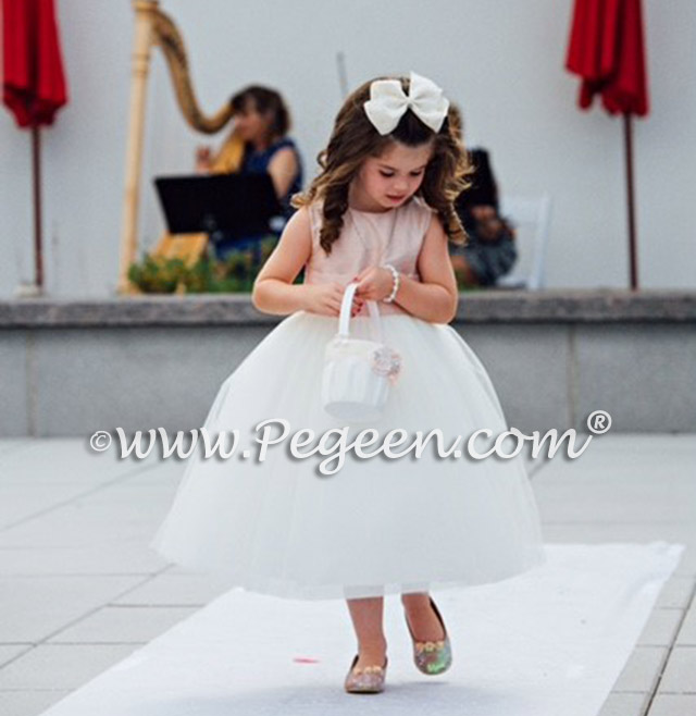 Flower Girl Dresses in Ballet Pink and Ivory with Dew Drop Crystals