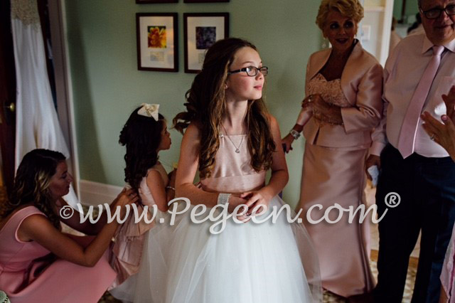 Pegeen.com Wedding of the Month - March-April 2017 features style 909 and 402 in Ballet Pink and Ivory Tulle with Dew Drop Crystals