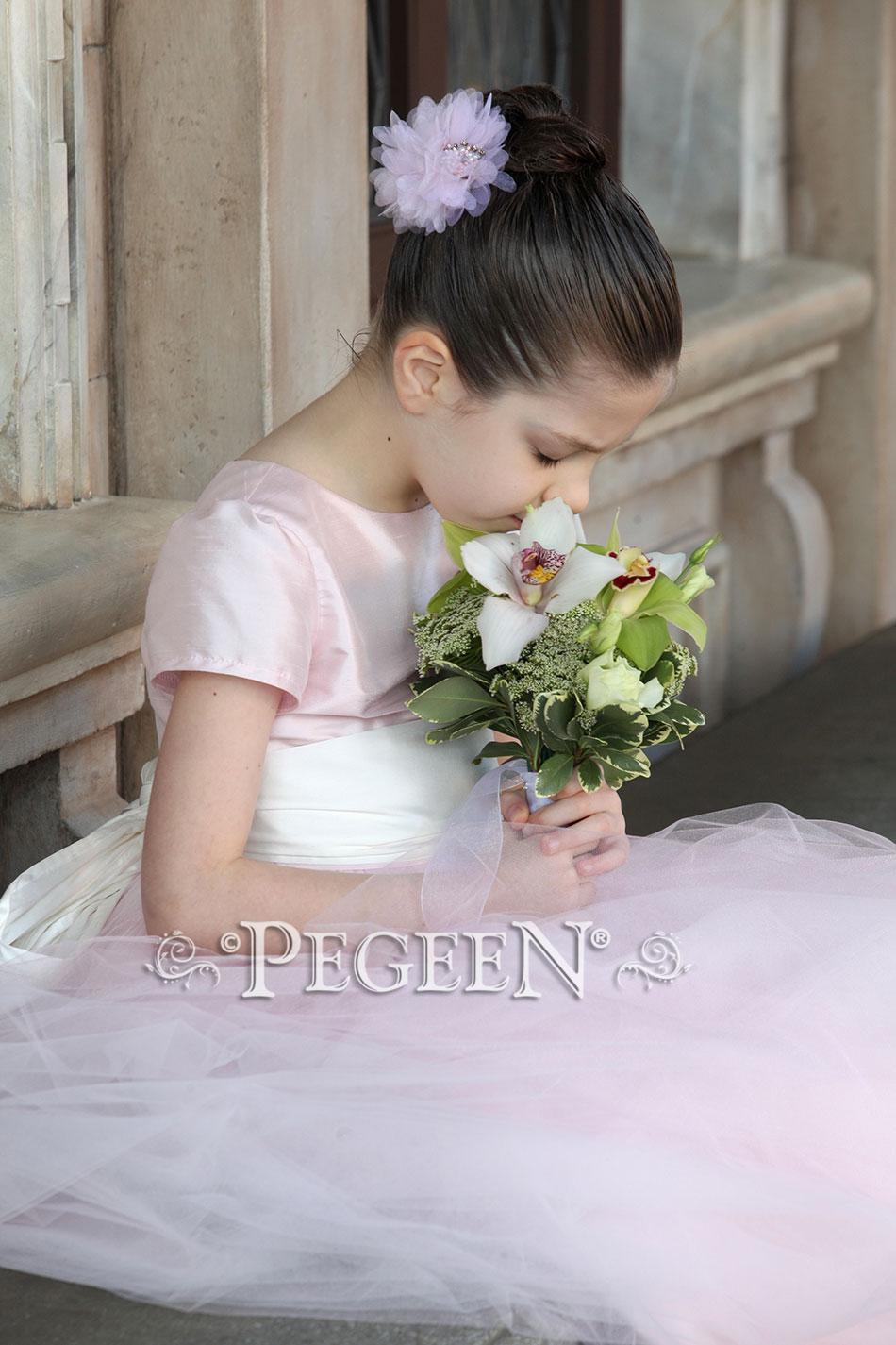 Peony Pink Flower Girl Dress Disney Photo Shoot