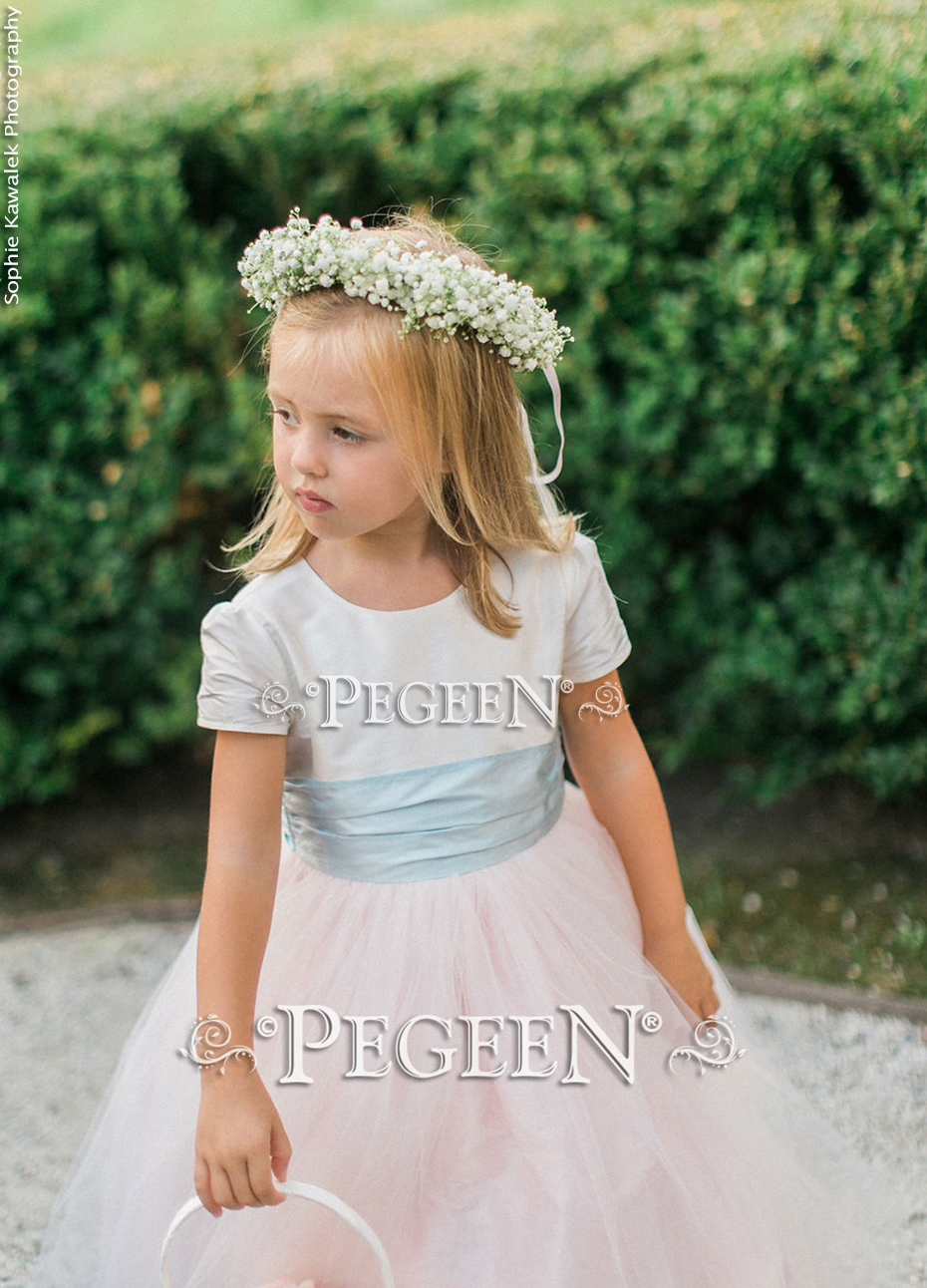 Flower girl dress in custom pink and blue cloud tulle