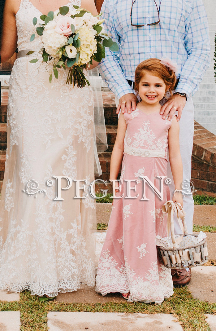 Jr Bridesmaids Dress Covered in Lace, Rum Pink silk | Pegeen