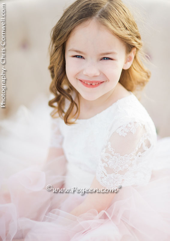 Pink tulle and lace flower girl dress style 921