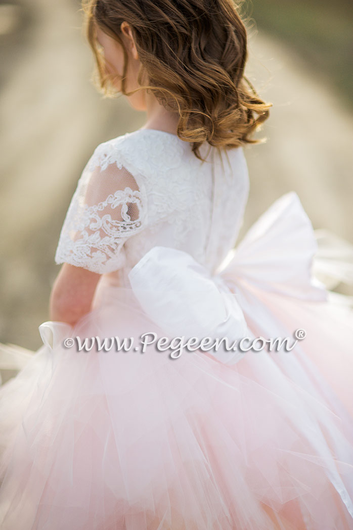 Light Pink Handkerchief Tulle Skirt with Aloncon Lace  top Style 921