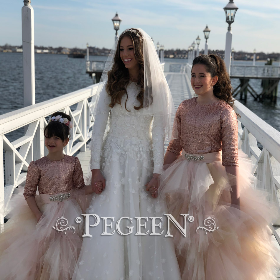 Rose Gold Sequined and Tulle Flower Girl Dress of the Month - July 2019