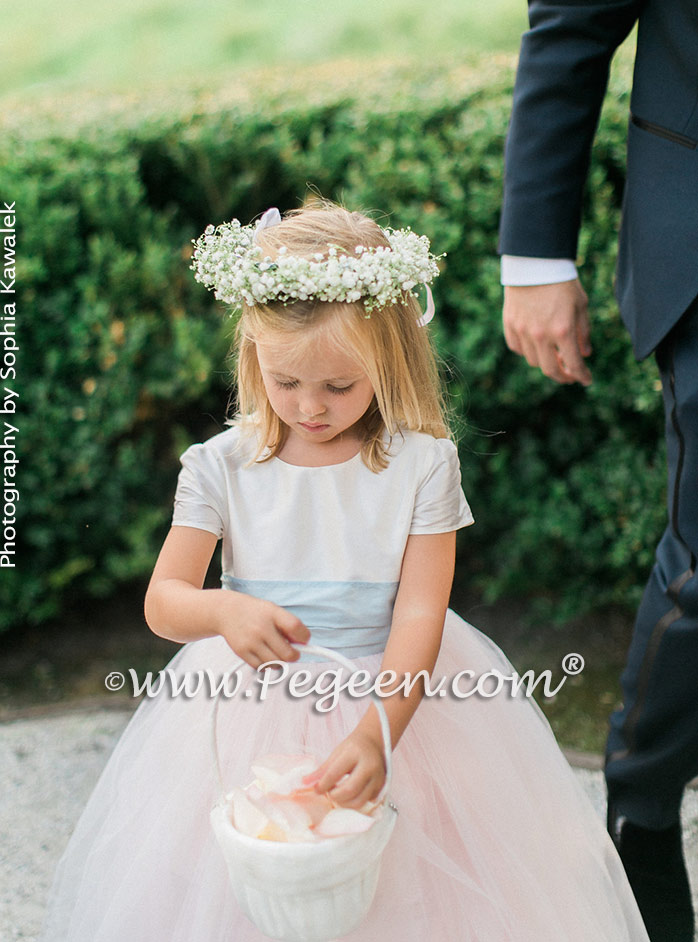Custom Pink and Blue Silk Flower Girl Dresses Classic Style 356