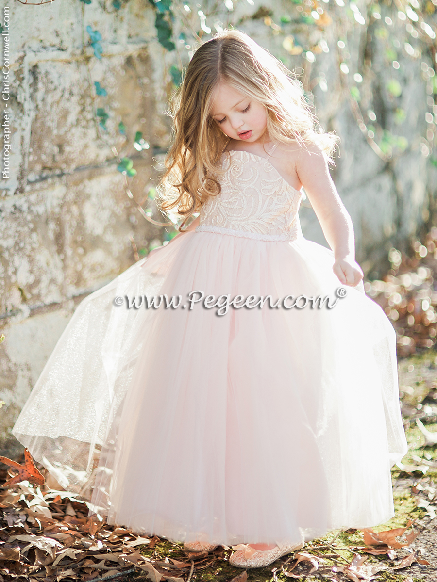 Couture ballet pink silk flower girl dress Pegeen Couture Style 905