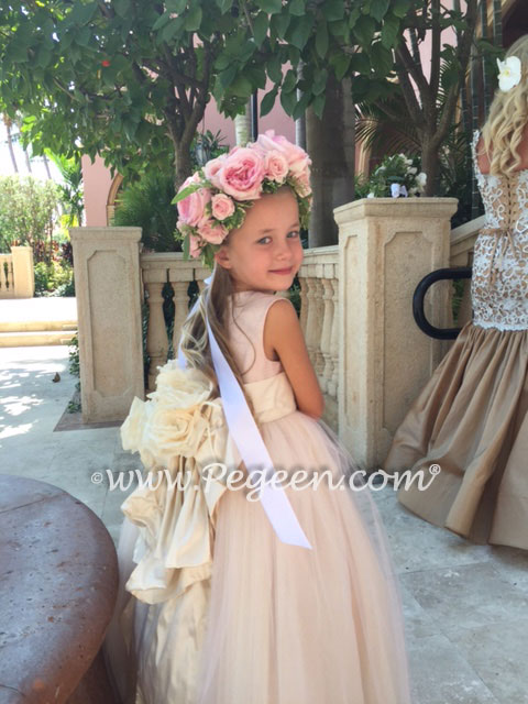 Ballet Pink Silk and Tulle Flower Girl Dress - Pegeen Style 402 with Signature Bustle