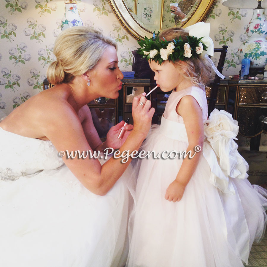 Pegeen flower girl dress with signature bustle