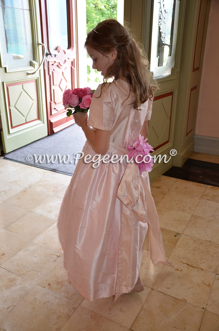 Peony and Champagne Pink silk flower girl dress Pegeen Style 398