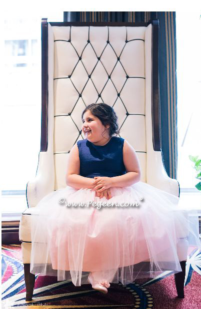 Navy and Pink Silk and Tulle Flower Girl Dress - Pegeen Style 356