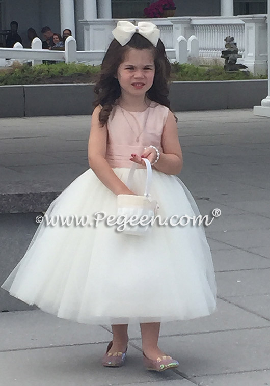 FLOWER GIRL DRESSES in New Ivory and Ballet Pink Couture Style 402