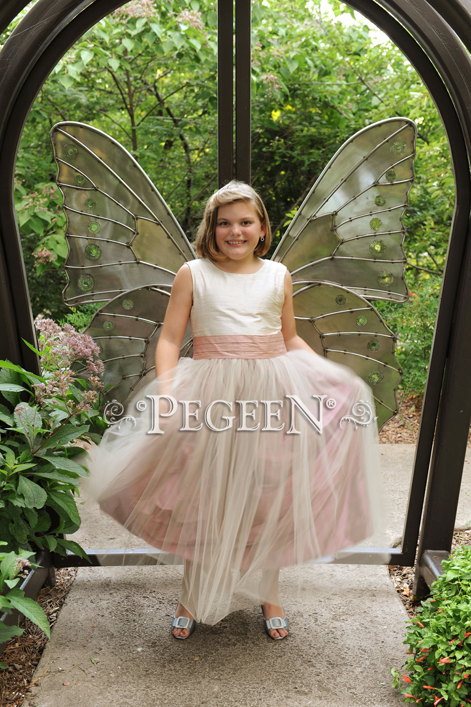Silk and tulle flower girl dress in rum pink and ivory