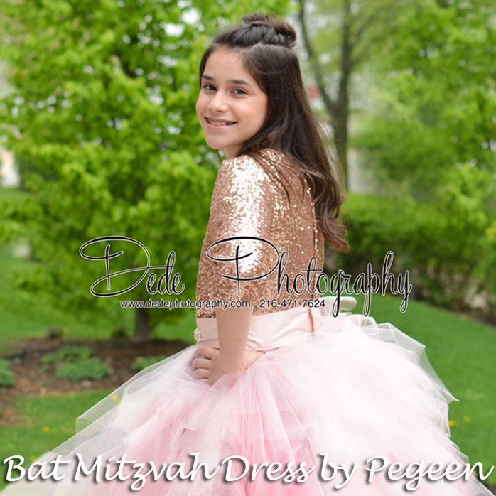 Rose gold Bat Mitzvah or Jr Bridedmaids Dress