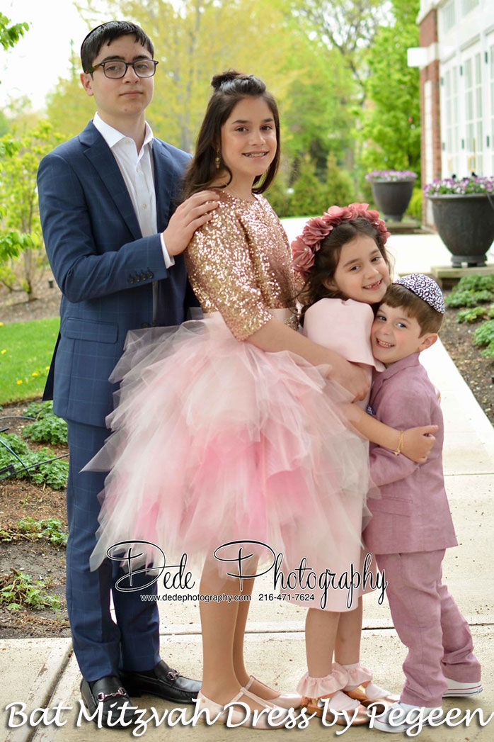 Rose pink sequin and tulle handkerchief skirt for Bat Mitzvah
