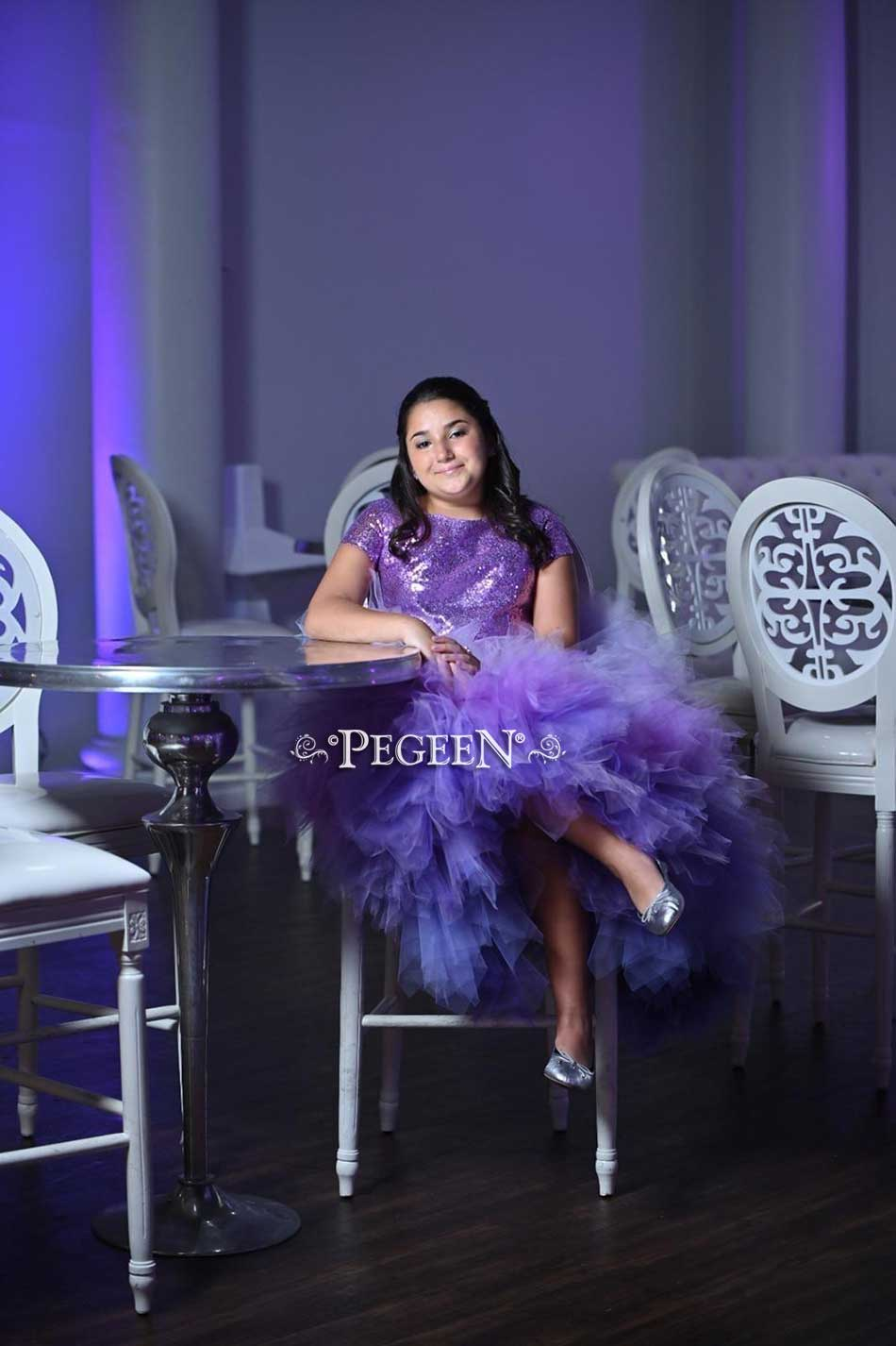 Purple Ombre Tulle, Silk and Sequin Bat Mitzvah Dress