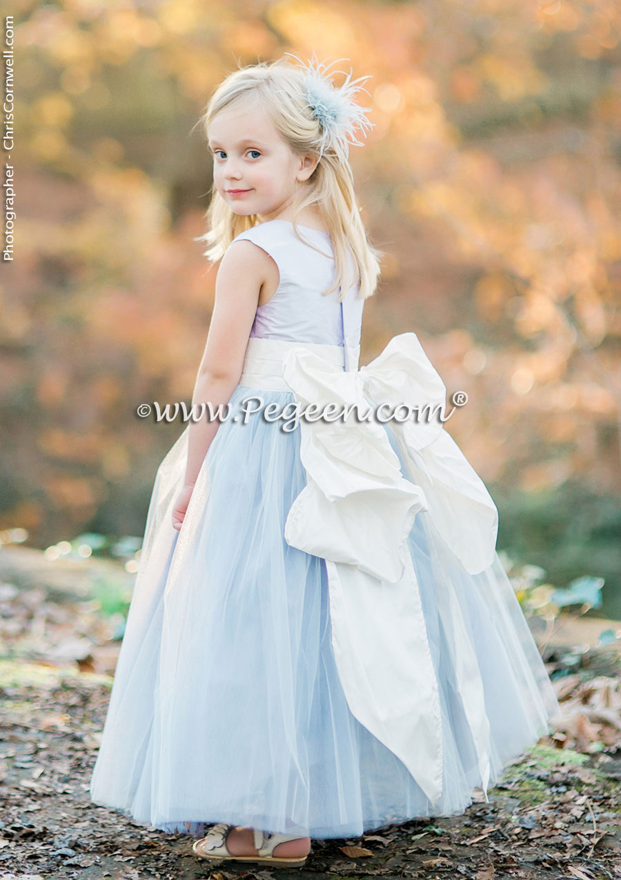 FLOWER GIRL DRESSES in Cloud Blue and blue tulle with Pegeen Signature Sash Sash