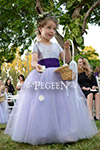 Layered Lavender and Peri Silk Tulle Flower Girl Dress and Plum Sashes