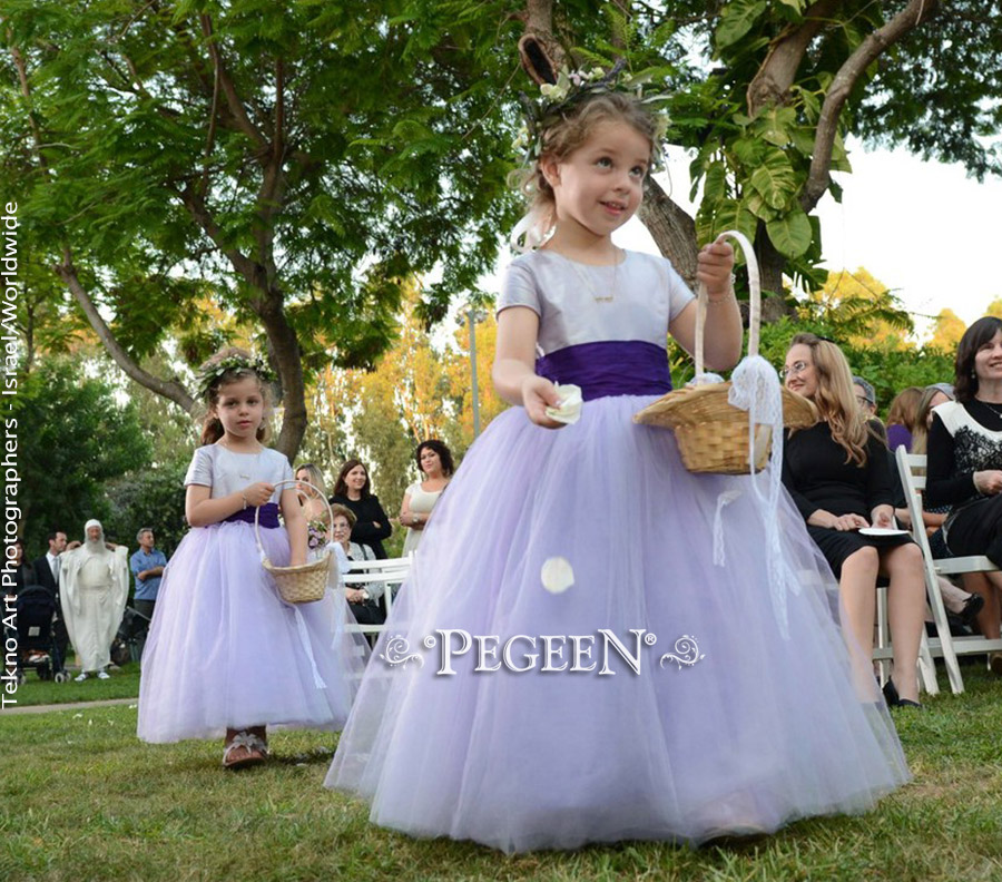 Plum and lavender wedding in silk and tulle flower girl dresses