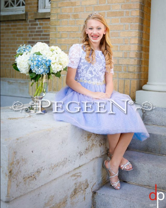 Periwinkle tulle and silk Jr Bridesmaid or Bat Mitzvah dress | Pegeen