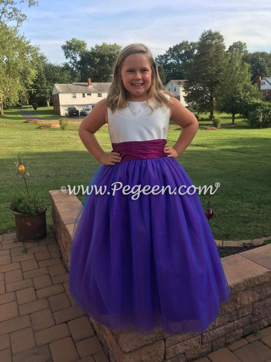 Razzleberry and Purple Silk and Tulle Flower Girl Dress
