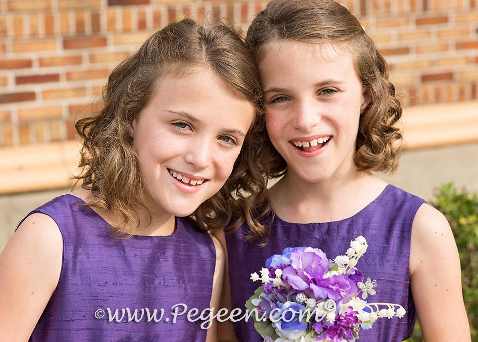 Grape (purple) and Grass Green Custom Silk Flower Girl Dress | Pegeen Style 345