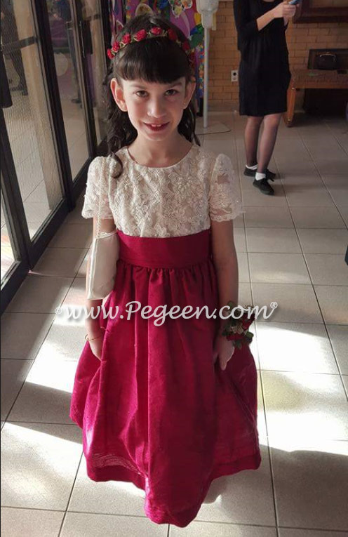 Cranberry and White custom flower girl dresses - Style 396 | Pegeen