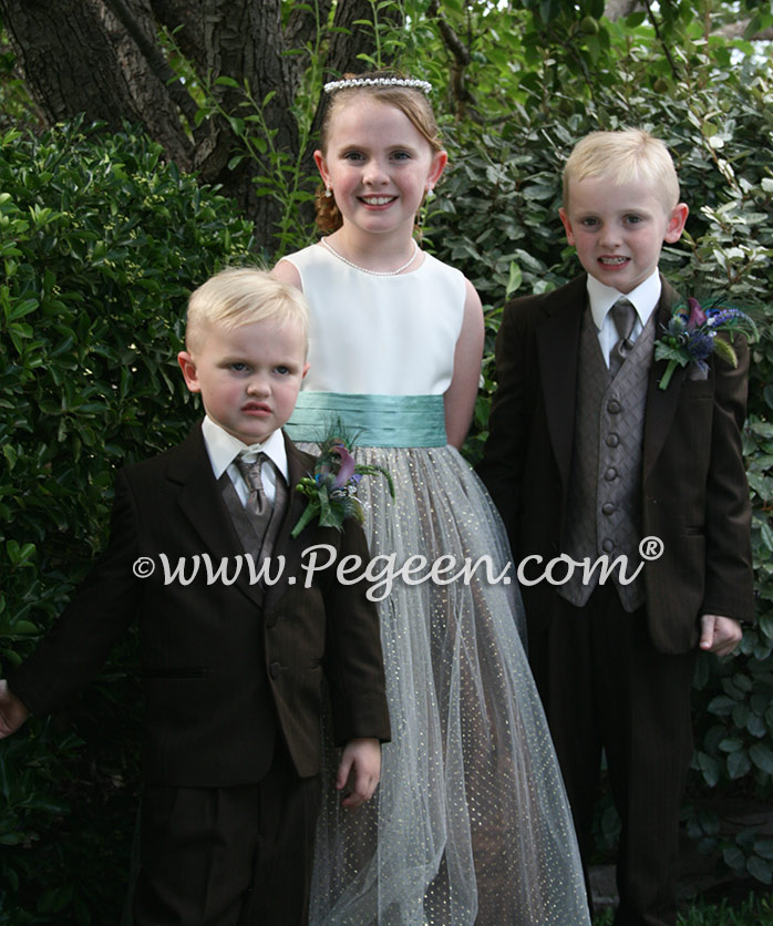 Silk flower girl dresses in Chocolate and Tiffany silk with gold glitter tulle Style 372