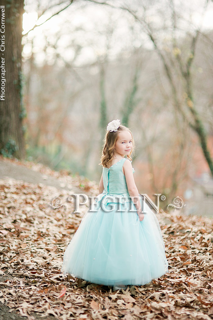Seaside aqua silk tulle flower girl dress