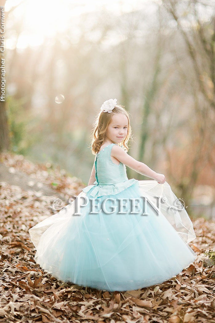 Tiffany Blue with Antique White silk flower girl dresses Style 903