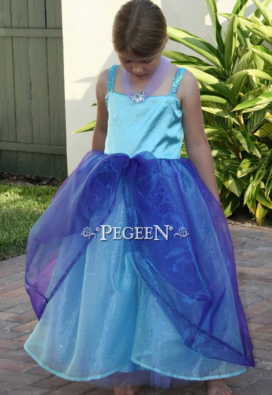 Purple and teal flower girl dress