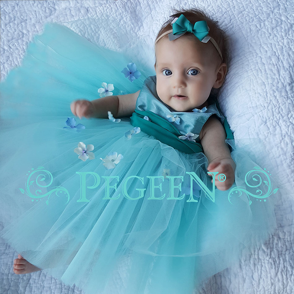 Tiffany blue and Bermuda Green Silk and Tulle flower girl dress