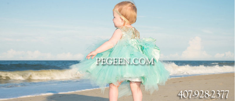 FLOWER GIRL DRESSES in gold sequins and tiffany blue silk and tulle for Infants, Toddlers and 4-16