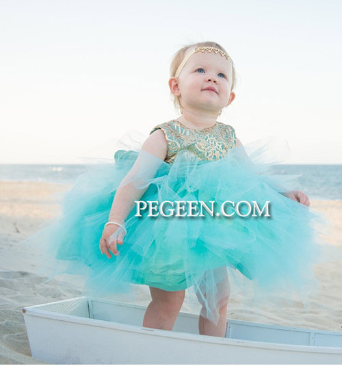 Toddler's gold sequins and tiffany tulle flower girl dress