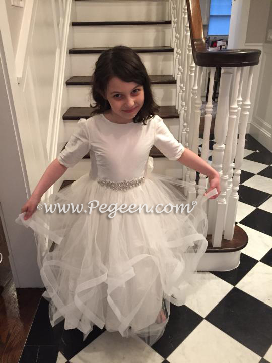 Multi layered tulle flower girl dress