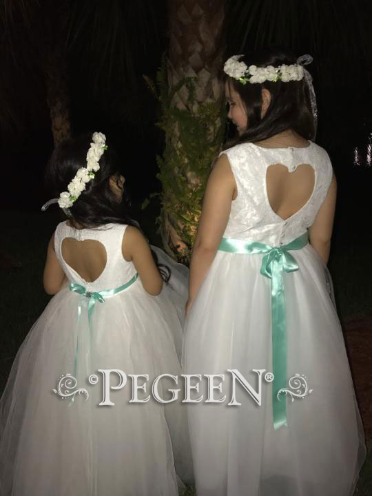 Aloncon lace and tulle flower girl dress with optional back heart